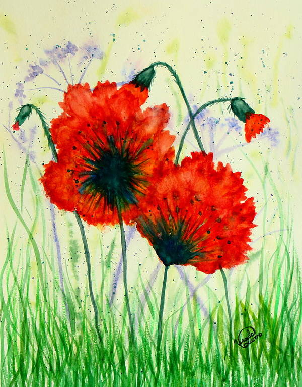 Poppies Poster featuring the painting Poppies In The Wild by Ursula Coccomo