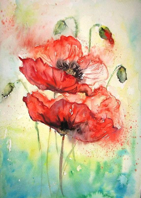 Red Poppy Poster featuring the painting Poppies by Natalja Picugina