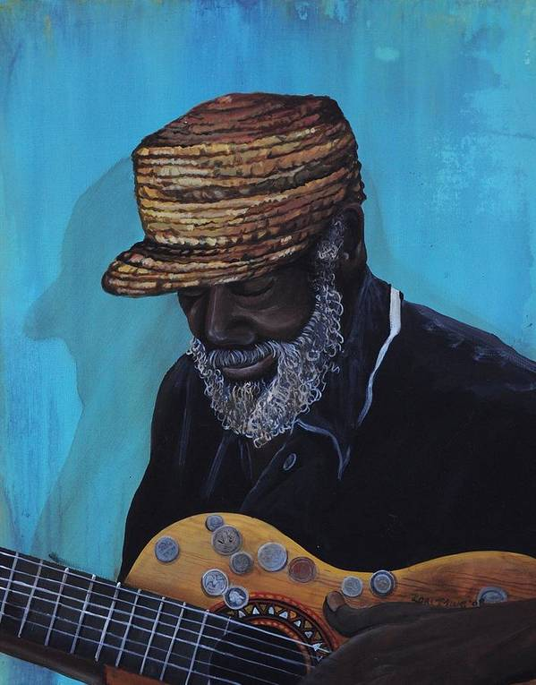 Old Black Man Poster featuring the painting Pops by Lori King