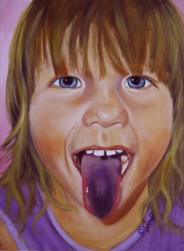 Child Poster featuring the painting Popsicle Tongue by Joni McPherson