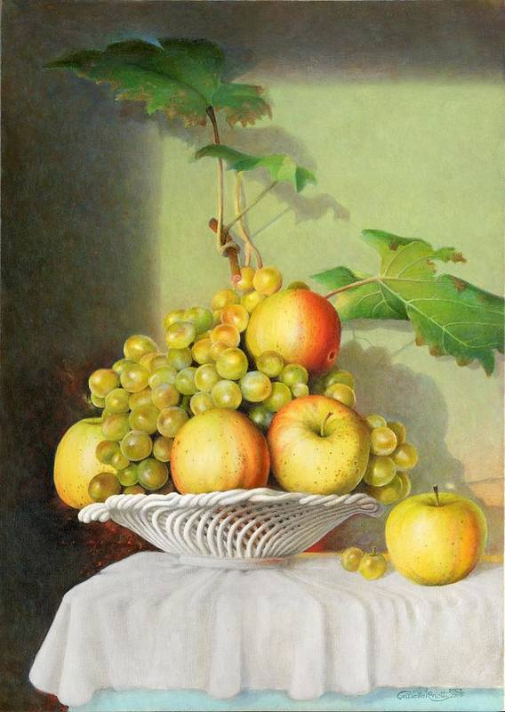Giuseppe Mariotti Poster featuring the painting Porcelain Fruit Bowl by Giuseppe Mariotti