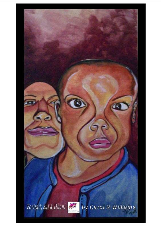 Watercolor Poster featuring the painting Portrait Eul And Dhani by Carol Rashawnna Williams