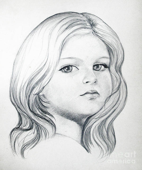 Portrait Girl Pencil Poster featuring the drawing Portrait Of A Girl by Stoyanka Ivanova