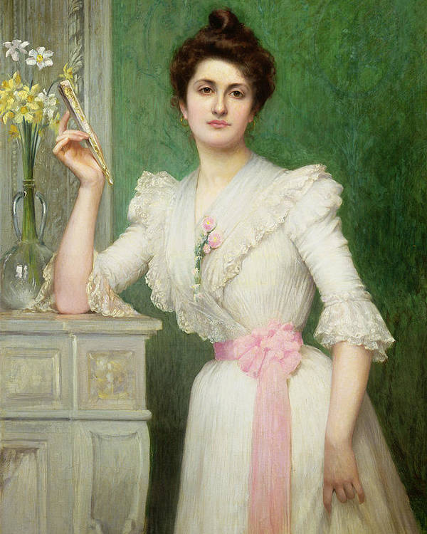 Gg80894 Poster featuring the photograph Portrait Of A Lady Holding A Fan by Jules-Charles Aviat