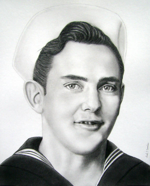 Portrait Poster featuring the drawing Portrait Of A Sailor by Nicole I Hamilton