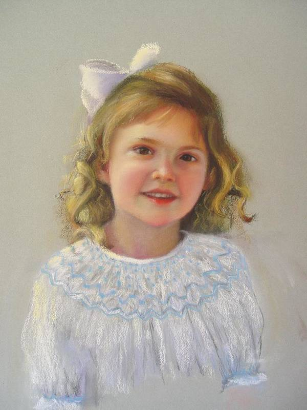 Portrait Of Little Girl. Pastel Medium Poster featuring the painting Portrait Of Amy by Melanie Miller Longshore