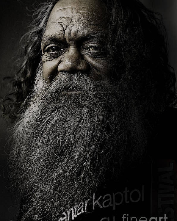 Aboriginal Poster featuring the photograph Portrait Of Cedric by Sheila Smart Fine Art Photography