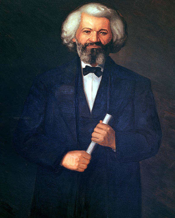 Portrait Of Frederick Douglass (1817-95) (oil On Canvas) By American School (19th Century) Poster featuring the painting Portrait Of Frederick Douglass by American School
