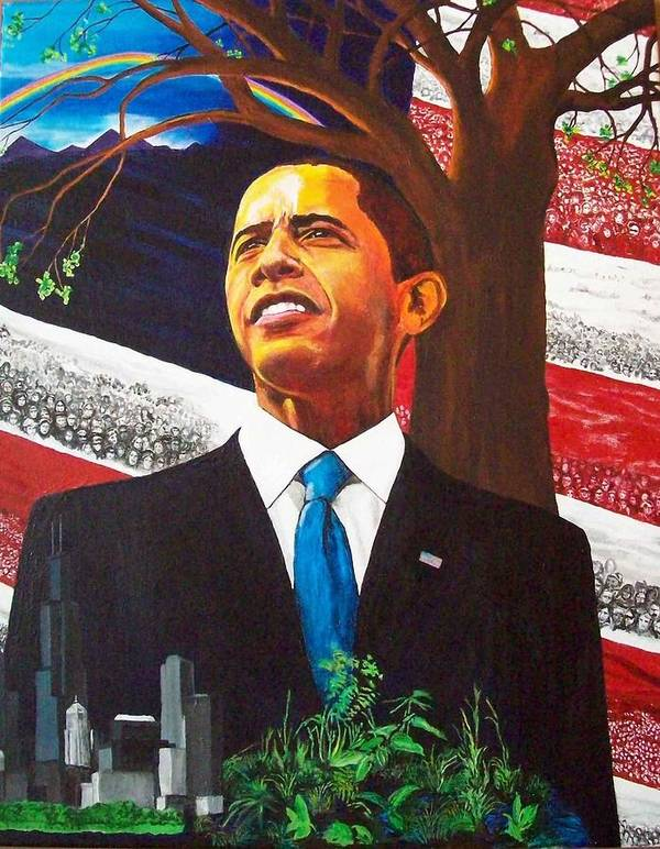 President Obama Poster featuring the painting Portrait Of Hope by Susan M Woods