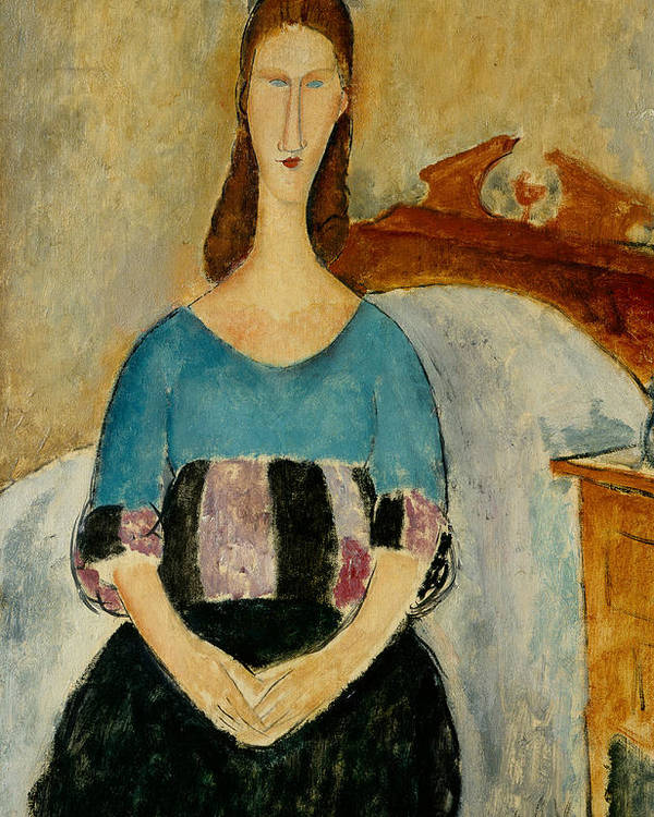 Italian Art Poster featuring the painting Portrait Of Jeanne Hebuterne by Amedeo Modigliani