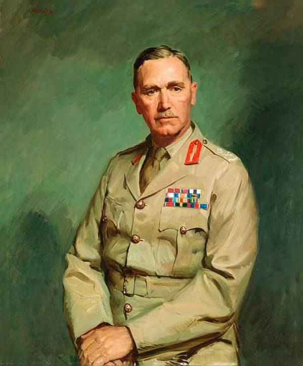 Painting Poster featuring the painting Portrait Of Lieutenant - General The Honorable Sir Edmund Herring by Mountain Dreams