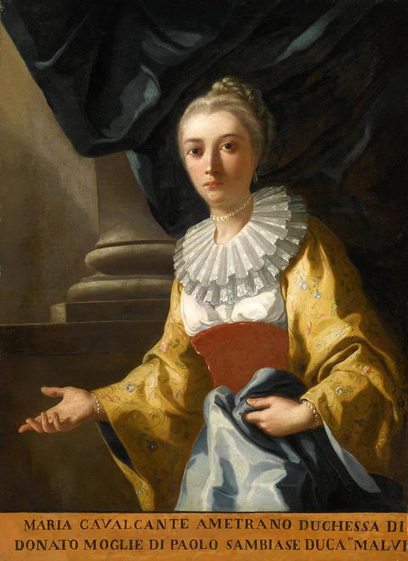 Domenico Mondo Poster featuring the painting Portrait Of Maria Cavalcanti Ametrano Duchess Of San Donato by Domenico Mondo