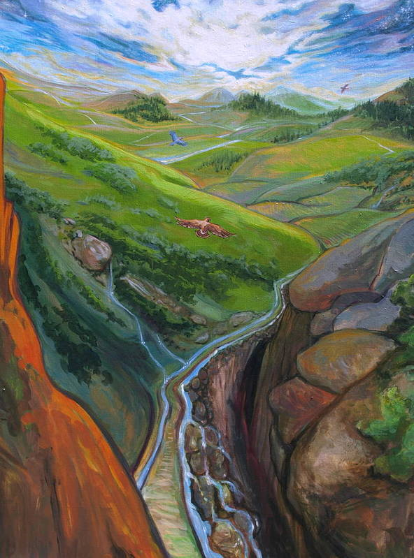Landscape Poster featuring the painting Portrait Of Psalms by Jill Iversen