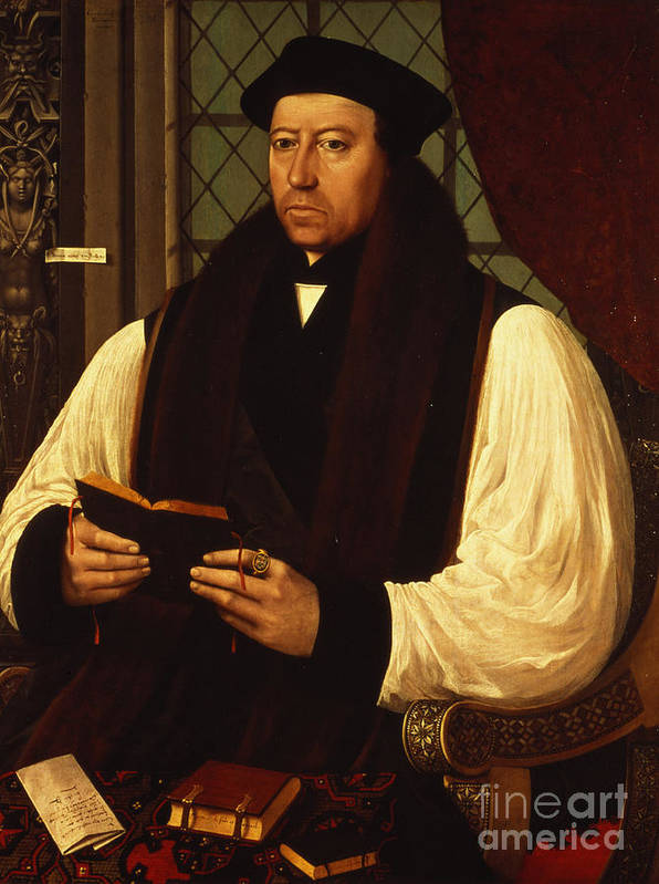 Portrait Poster featuring the painting Portrait Of Thomas Cranmer by Gerlach Flicke