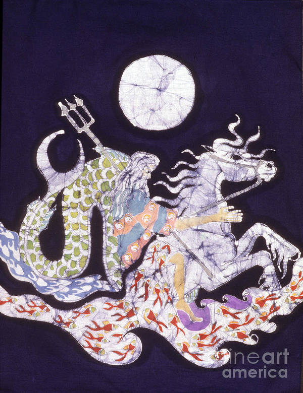 Horse Poster featuring the tapestry - textile Poseidon Rides The Sea On A Moonlight Night by Carol Law Conklin