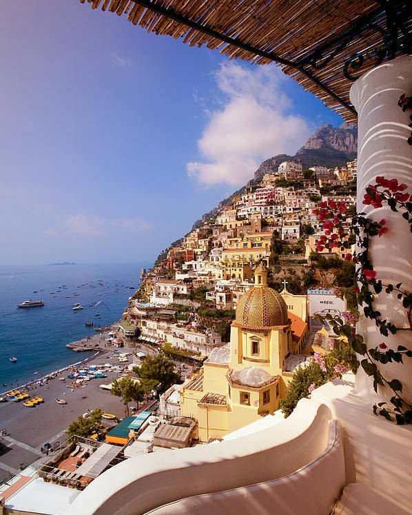 Positano Poster featuring the photograph Positano View by Neil Buchan-Grant
