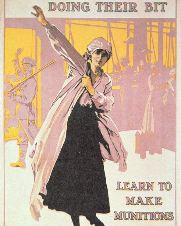 World War One;first World War;ww1;wwi;1st;home Front;propaganda;female;woman;worker;working;munitions Factory;overall;war Effort;industry;labour;labourer;labourers;great War;morale;advert;advertising;advertisement Poster featuring the painting Poster Depicting Women Making Munitions by English School