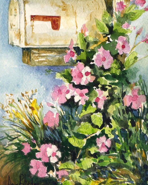 Mailbox Poster featuring the painting Postman's Delight by Anne Rhodes
