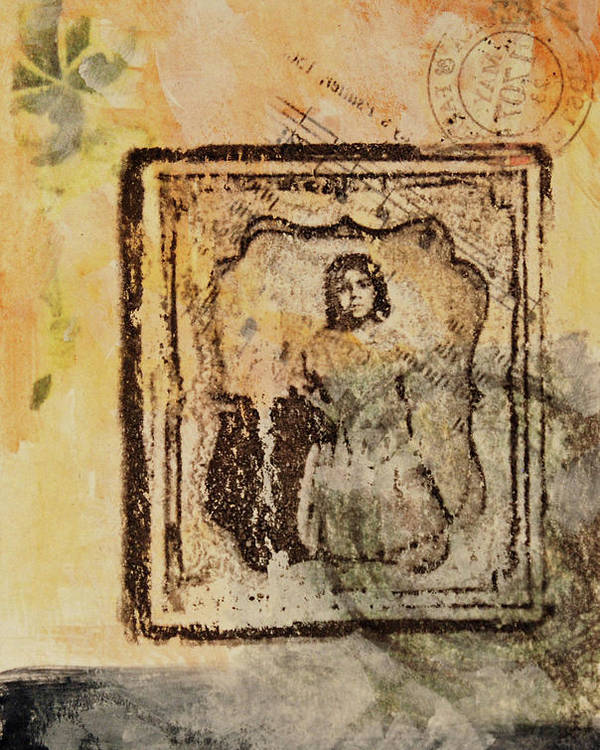 Antique Photo Poster featuring the mixed media Postmark Girl by Roberta Rose