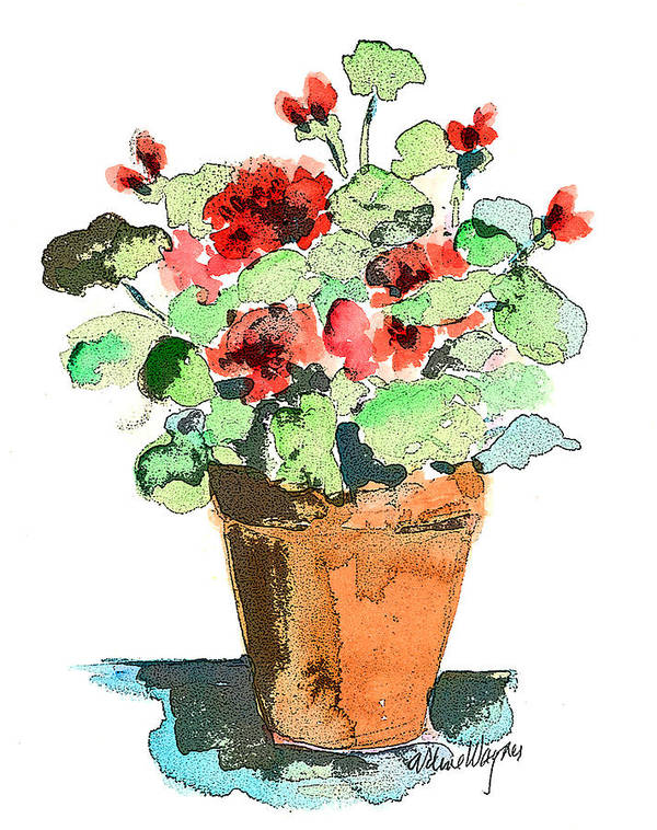 Plants Poster featuring the painting Potted Geraniums by Arline Wagner