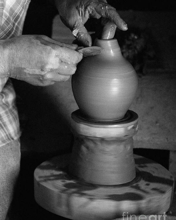 Azores Poster featuring the photograph Potter At Work by Gaspar Avila