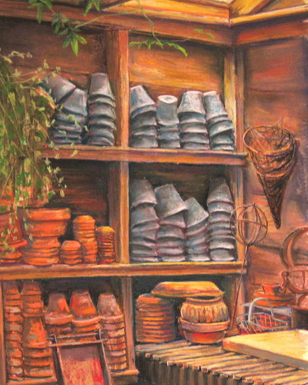 Potting Shed Poster featuring the pastel Potting Shed by Sam Pearson