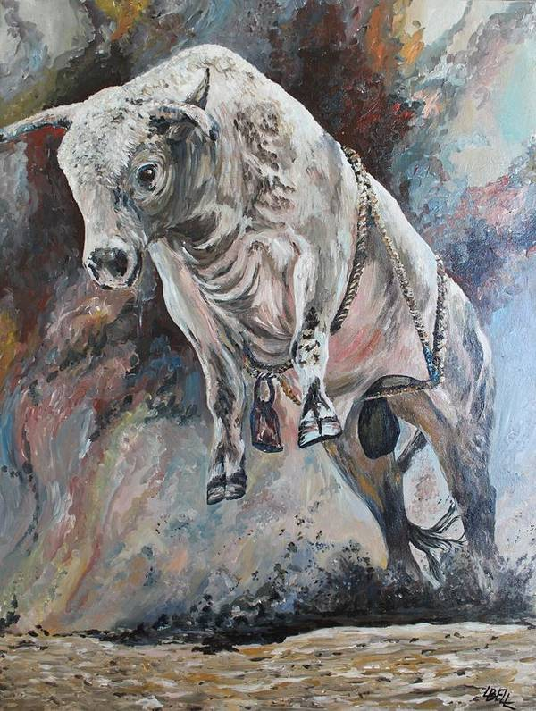 Bull Poster featuring the painting Power Of The Bull by Leonie Bell