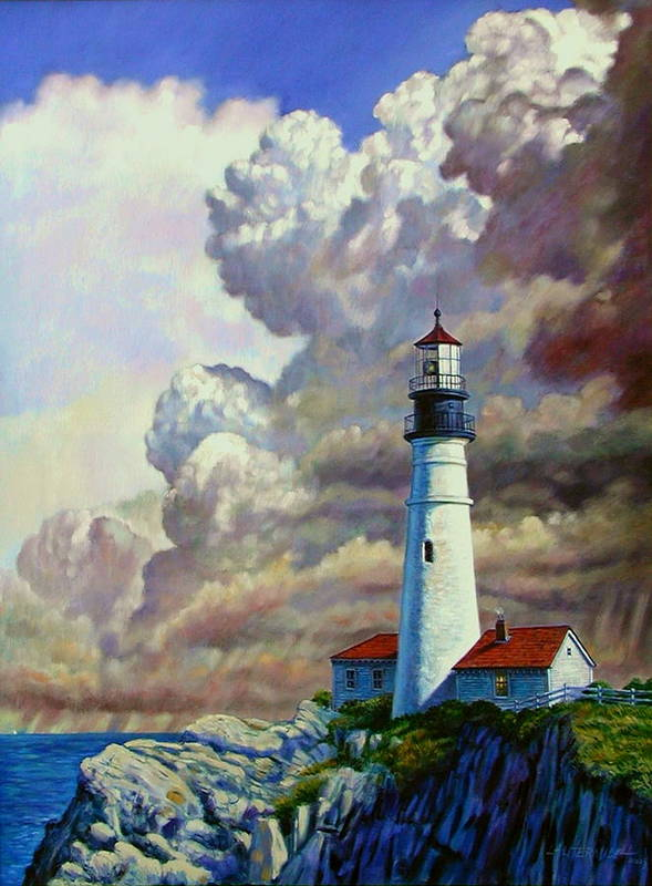 Lighthouse Poster featuring the painting Powering Up by John Lautermilch