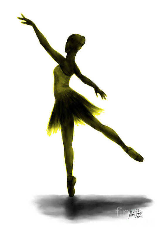 Ballet Poster featuring the digital art Practice Makes Perfect - Yellow by Alina Davis