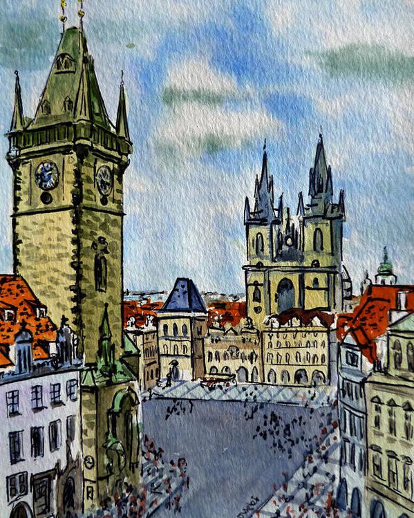 Prague Poster featuring the painting Prague Czech Republic by Irina Sztukowski
