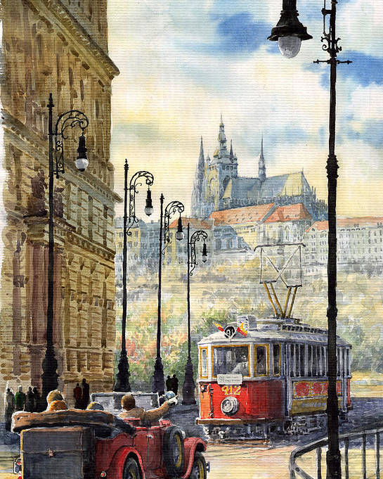 Architecture Poster featuring the painting Prague Kaprova Street by Yuriy Shevchuk