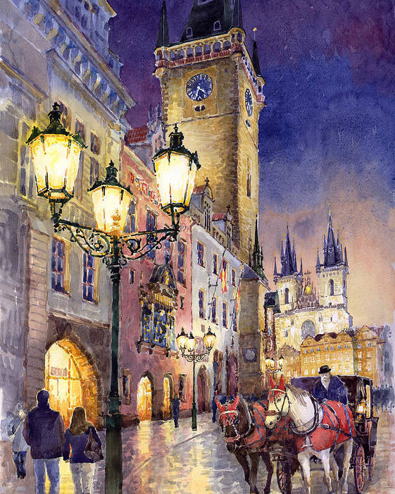 Cityscape Poster featuring the painting Prague Old Town Square 3 by Yuriy Shevchuk