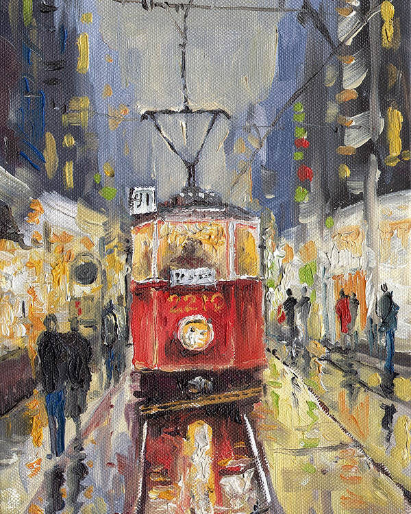 Oil Poster featuring the painting Prague Old Tram 08 by Yuriy Shevchuk