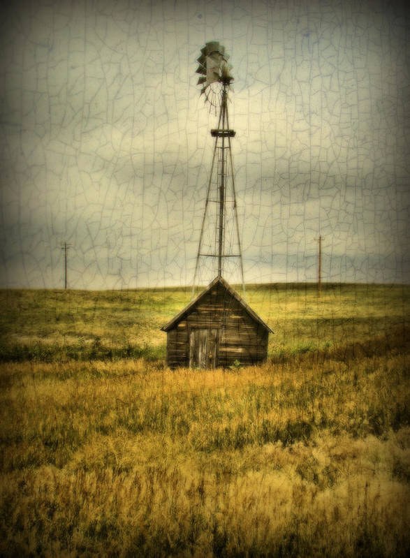 Windmill Poster featuring the photograph Prairie Pump by Tingy Wende