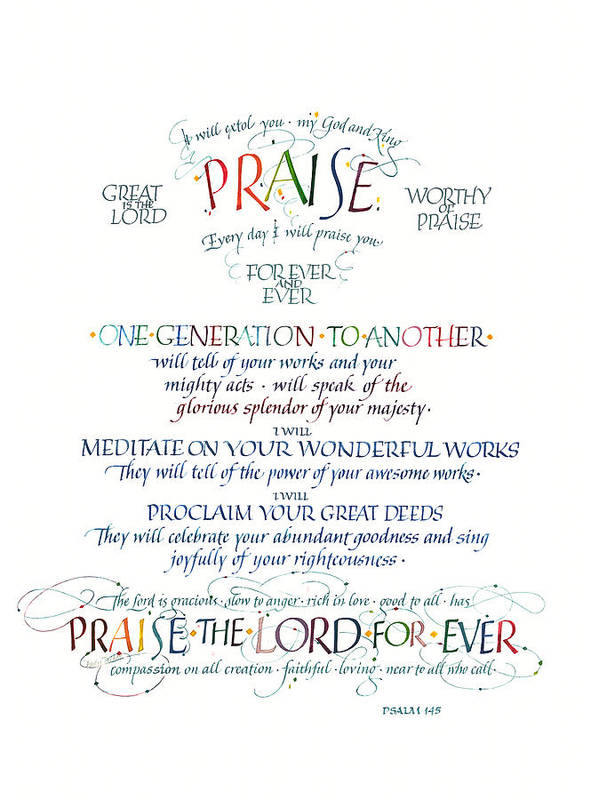 Christ Poster featuring the painting Praise Psalm 145 by Judy Dodds