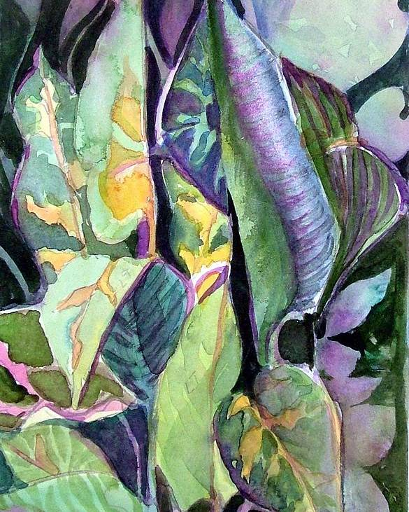 Watercolor Poster featuring the painting Pray Plant by Mindy Newman