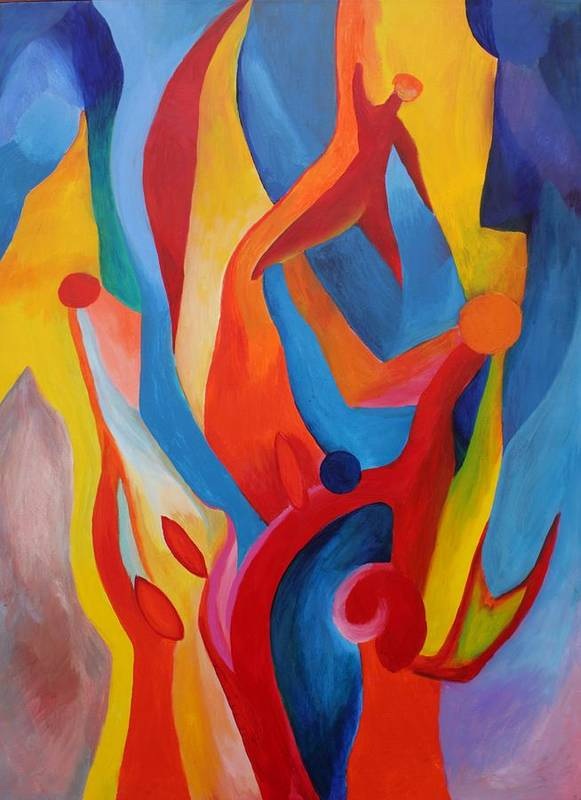 Abstract Poster featuring the painting Praying For Guidance by Peter Shor