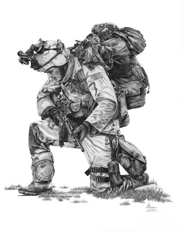 Pencil Poster featuring the drawing Praying Soldier by Murphy Elliott