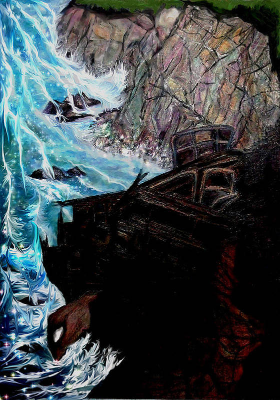 Shipwrecks Poster featuring the painting Precious Gem Mountain by Brenda L Spencer