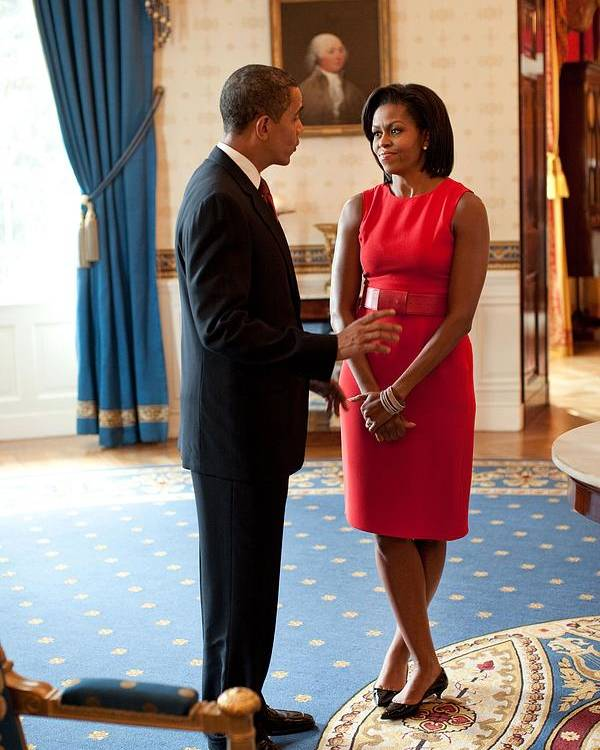 History Poster featuring the photograph President And Michelle Obama Talk by Everett