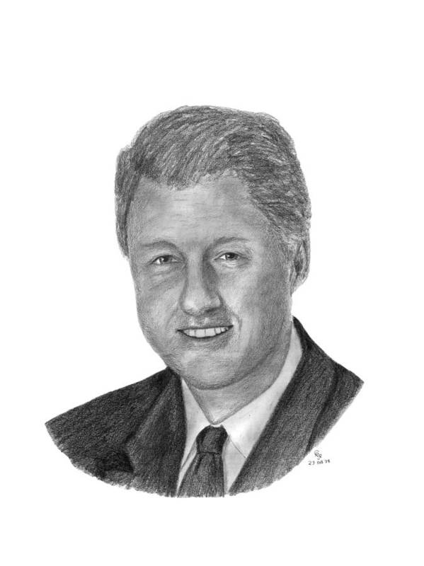 Clinton Poster featuring the drawing President Bill Clinton by Charles Vogan