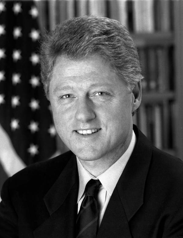 Bill Clinton Poster featuring the photograph President Bill Clinton by War Is Hell Store