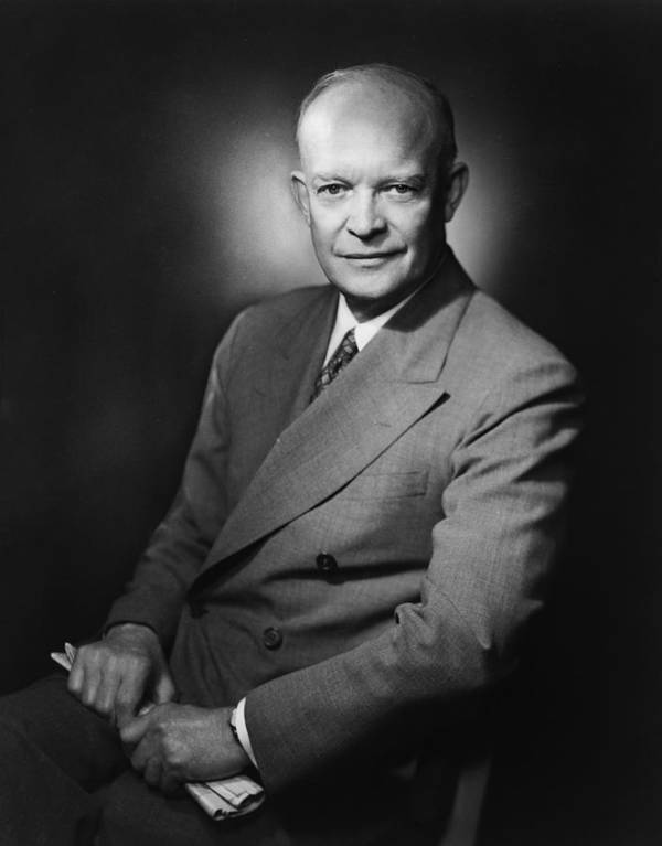 Eisenhower Poster featuring the photograph President Dwight Eisenhower by War Is Hell Store