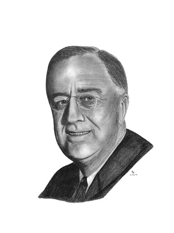 President Poster featuring the drawing President Franklin Roosevelt by Charles Vogan