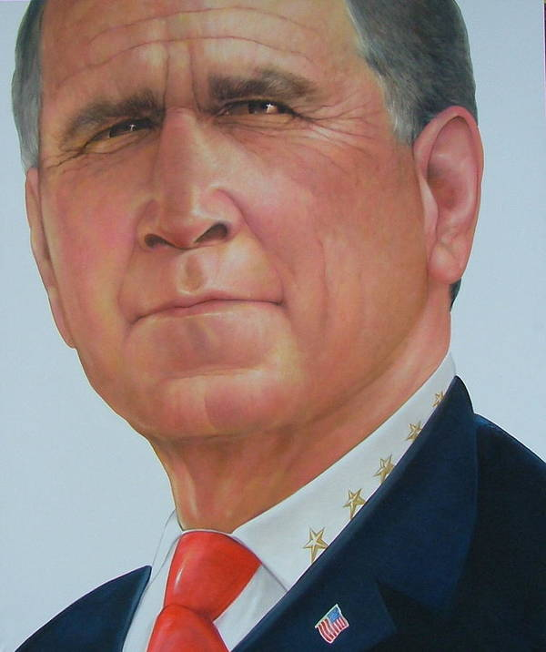 Portrait Poster featuring the painting President George W. Bush by Gary Kaemmer