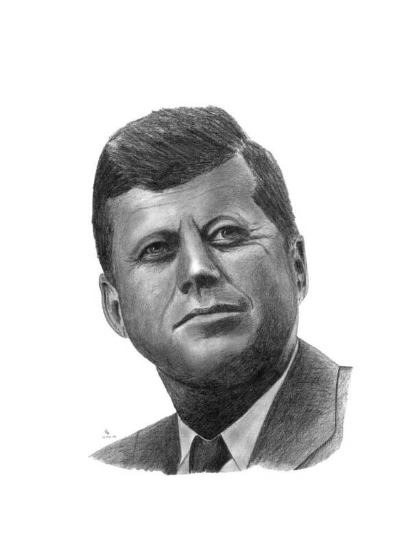 President Poster featuring the drawing President John Kennedy by Charles Vogan