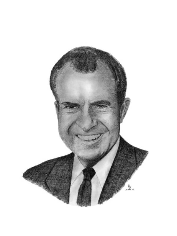 President Poster featuring the drawing President Richard Nixon by Charles Vogan
