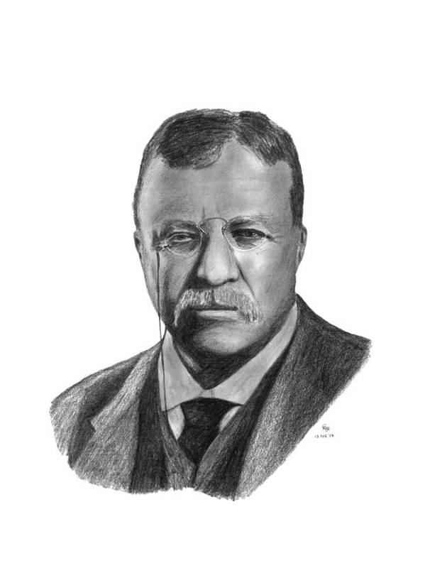 President Poster featuring the drawing President Theodore Roosevelt by Charles Vogan