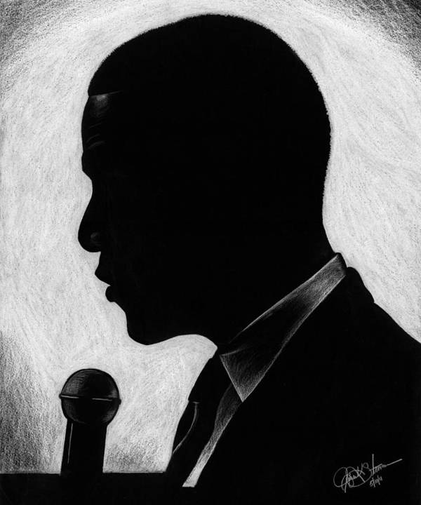 Barack Poster featuring the drawing Presidential Silhouette by Jeff Stroman