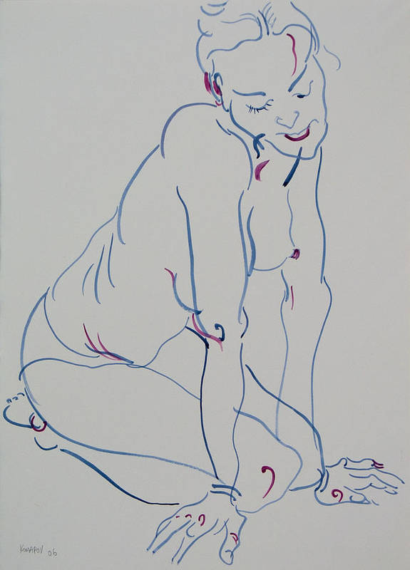 Woman Poster featuring the drawing Pretty Nude Woman by Vitali Komarov